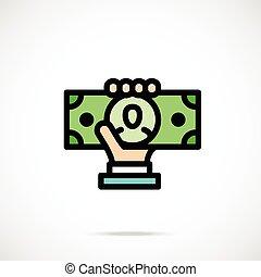 Hand holding dollar bill. Thin line - Hand holding dollar...