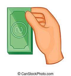 Hand holding dollar bills icon, cartoon style
