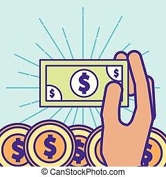 hand holding dollar coins money cartoon
