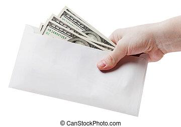 Hand holding dollar envelope - Human hand holding dollar...