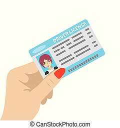Hand holding driver license with female photo