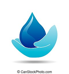 hand holding drop water icon