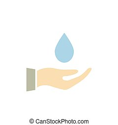 Hand holding drop water icon.