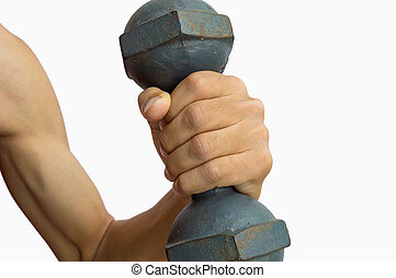 Hand holding dumbbell isolated on white background