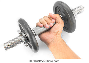 Hand holding dumbbell on white background