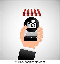 hand holding e-shopping camera design vector illustration...