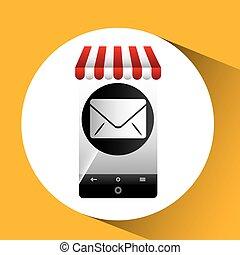 hand holding e-shopping email design vector illustration eps...