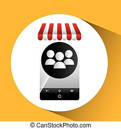 hand holding e-shopping group design vector illustration eps...