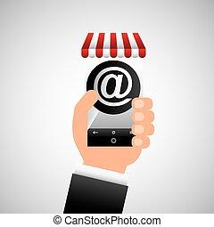 hand holding e-shopping mail design vector illustration eps...