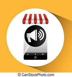 hand holding e-shopping megaphone design vector illustration...