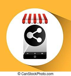 hand holding e-shopping share design vector illustration eps...