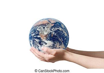Hand holding earth - A hand holding a globe, saving...
