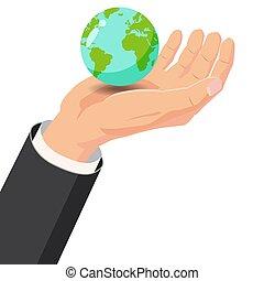 Hand holding Earth globe on white background vector illustration, Cartoon style, baner, poster, illustration, vector