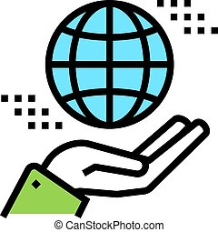 hand holding earth sphere color icon vector illustration