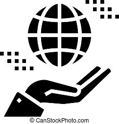 hand holding earth sphere glyph icon vector illustration