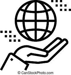 hand holding earth sphere line icon vector illustration