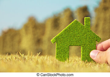 Hand holding eco house icon ,Concept Save green planet.