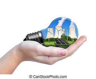 Hand holding eco lightbulb