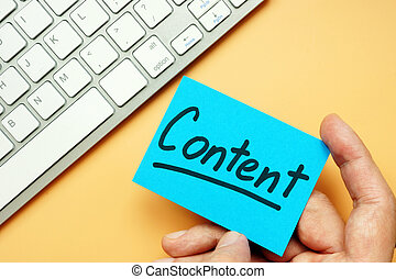 Hand holding engaging content card, Internet marketing.