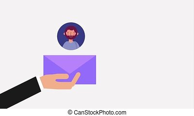 hand holding envelope people contacts message