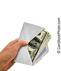 Hand Holding Envelope with Cash