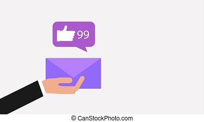 hand holding envelope with likes and love it social media...