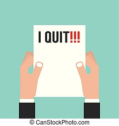Hand Holding Envelope With Text I Quit Job. Resignation Letter Concept Vector Illustration