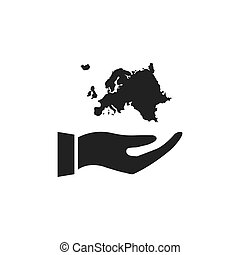 Hand holding Europe icon