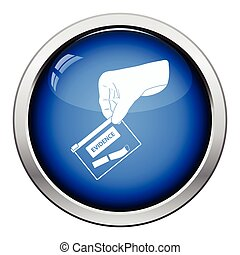 Hand holding evidence pocket icon. Glossy button design....