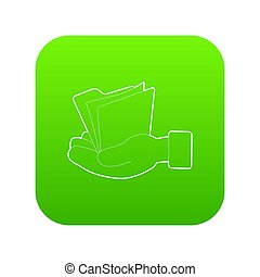 Hand holding file folder icon green