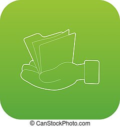 Hand holding file folder icon green vector