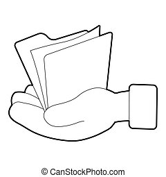 Hand holding file folder icon, isometric 3d style