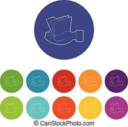Hand holding file folder icons set vector color