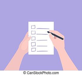 Hand holding filling form Checklist. To Do List Flat Vector Illustration.
