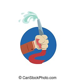 Hand holding fire hose, symbol of the profession of a firefighter cartoon vector Illustration