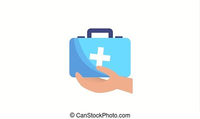 hand holding first aid kit medical ilustration