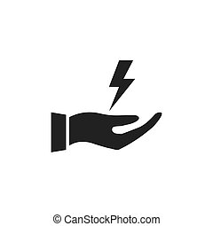Hand holding flash icon.