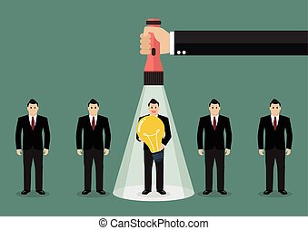 Hand holding flashlight glow to worker who has idea from group of businessmen