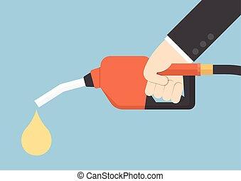 Hand holding gas fuel pump nozzle, VECTOR, EPS10