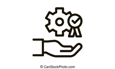 Hand Holding Gear And Medal Icon Animation. black Process For Goal Achievement, Victory Medal And Recognition animated icon on white background