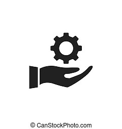 Hand holding gear icon.