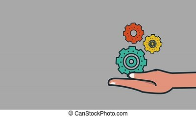 Hand holding gears working over gray background