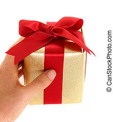 Hand holding gift box