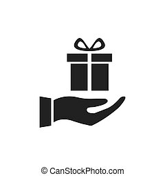Hand holding gift icon.