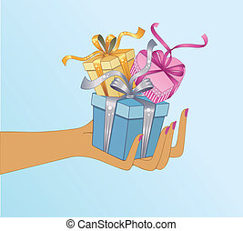 Hand holding gifts