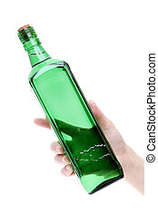 Hand holding glass bottle