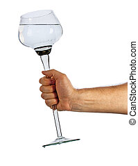 Hand holding glass cup