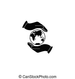 Hand holding Globe earth - black vector icon. Care of planet icon