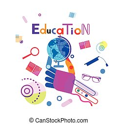 Hand Holding Globe, Education Concept Elearning Online Training Courses Banner