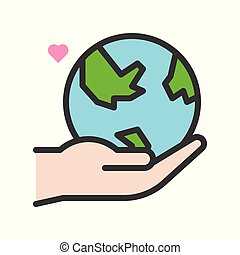 Hand holding Globe or planet earth icon filled line flat design